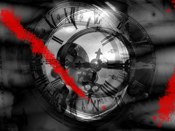 End Times Digital Art - Slashing Through Time by Abstract Angel Artist Stephen K
