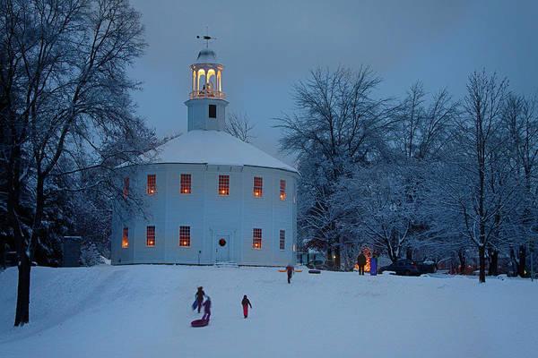 Photograph - Sledding At The Richmond Vermont Church by Jeff Folger