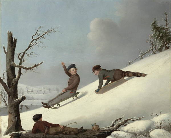 Happy Little Trees Painting - Sledding by George Henry Durrie