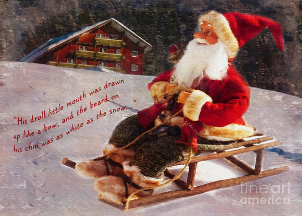 Digital Art - Sledding Santa Card 2015 by Kathryn Strick