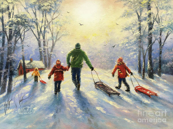 Wall Art - Painting - Sledding With Dad And Three Children by Vickie Wade
