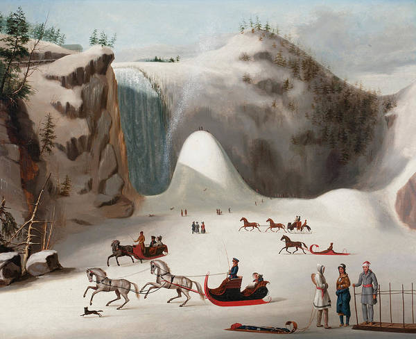 Figure Skating Painting - Sledges And Figures Skating On The Frozen Lake In Front Of Montmorency Falls by Robert Clow Todd