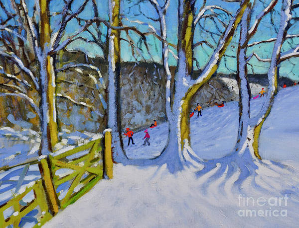 Wall Art - Painting - Sledging, Dam Lane, Derbyshire by Andrew Macara