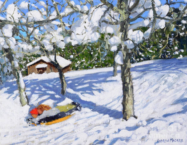 The Blues Brothers Painting - Sledging In The Orchard, Morzine by Andrew Macara