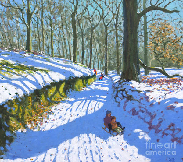 Happy Little Trees Painting - Sledging Through The Woods by Andrew Macara