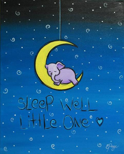 Painting - Sleep Well - Purple Elephant by Emily Page