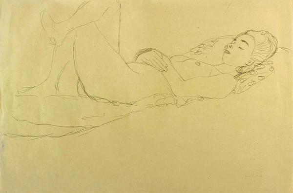 Impressionistic Drawing - Sleeping Girl by Gustav Klimt