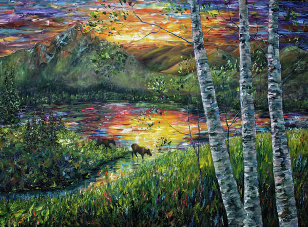Painting - Sleeping Meadow Palette Knife Painting by OLena Art - Lena Owens