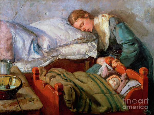 Toddler Painting - Sleeping Mother, 1883 by Christian Krohg
