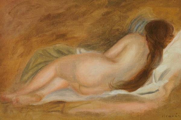 Asleep Painting - Sleeping Nude, Back View, Ochre Background by Pierre Auguste Renoir