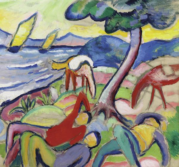 Asleep Painting - Sleeping Riders by August Macke