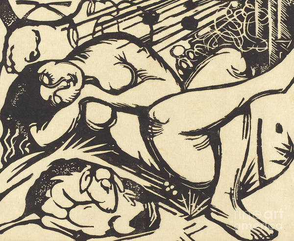 Crossed Legs Painting - Sleeping Shepherdess by Franz Marc