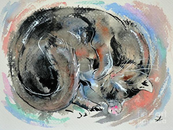 Wall Art - Painting - Sleeping Tortoiseshell Cat by Zaira Dzhaubaeva