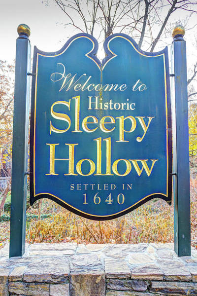 Wall Art - Photograph - Sleepy Hollow Town Sign by David Pyatt