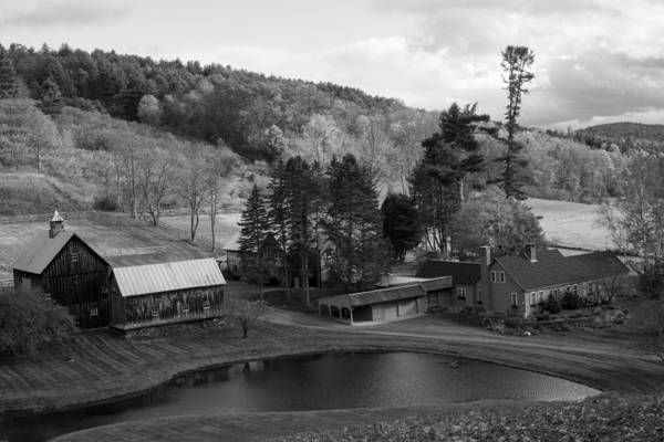 Photograph - Sleepy Hollows Farm Woodstock Vermont Vt Pond Black And White by Toby McGuire