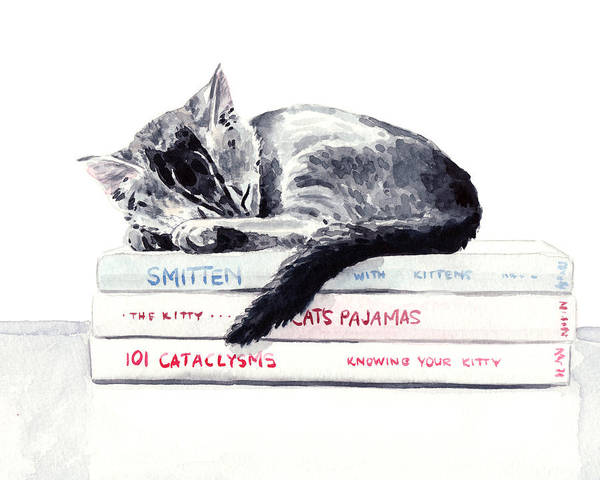 Curl Up Painting - Sleepy Kitten Cat On Books Library Cute Kity Gray Striped by Laura Row