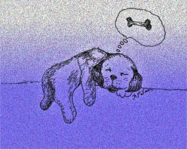 Drawing - Sleepy Puppy Dreams by Denise F Fulmer
