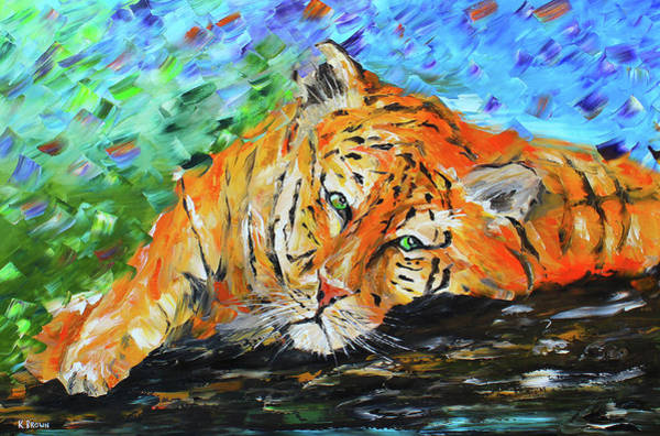 Painting - Sleepy Tiger by Kevin Brown
