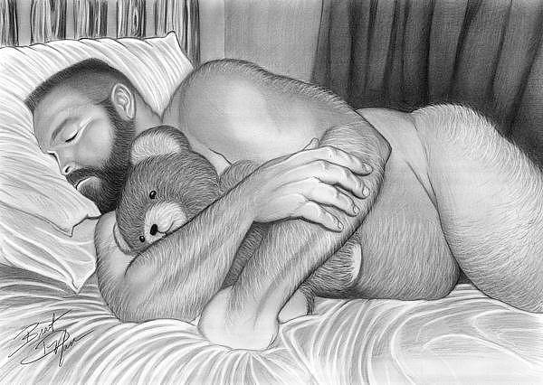 Male Nude Drawing - Sleepy Time For Teddy by Brent  Marr