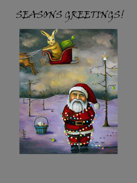 Painting - Sleigh Jacker With Seasons Greetings by Leah Saulnier The Painting Maniac