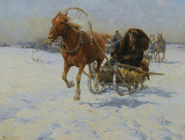 Painting - Sleigh Ride by Alfred Kowalski