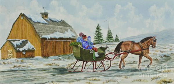 Barn Snow Painting - Sleigh Ride by Charlotte Blanchard