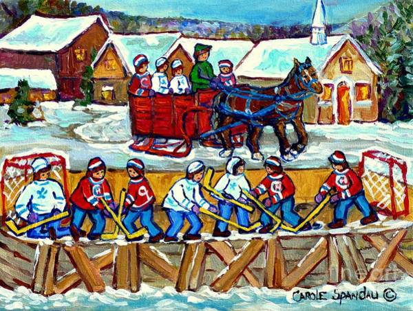 Painting - Sleigh Ride To The Hockey Rink Canadian Village Landscape Painting Quebec Winter Scene Art C Spandau by Carole Spandau