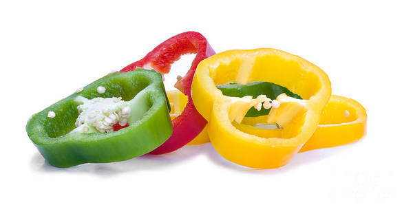 Glossy Photograph - Sliced Colorful Peppers by Meirion Matthias