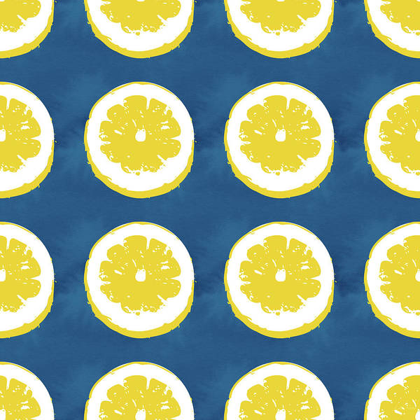 Wall Art - Mixed Media - Sliced Lemons On Blue- Art By Linda Woods by Linda Woods