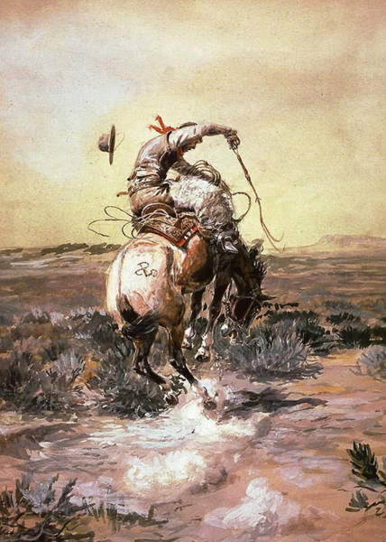 Bucking Bronco Digital Art - Slick Rider by Charles Russell