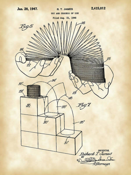 Wall Art - Digital Art - Slinky Patent 1946 - Vintage by Stephen Younts