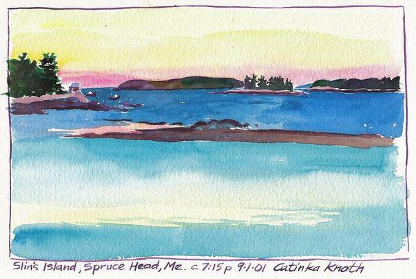 Painting - Slins Island Spruce Head Maine by Catinka Knoth