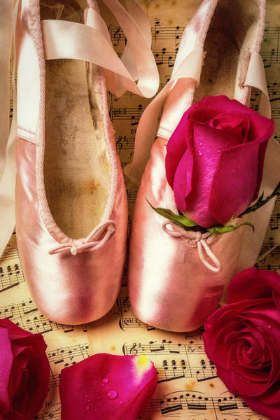 Pink Ribbon Wall Art - Photograph - Slippers And Roses by Garry Gay