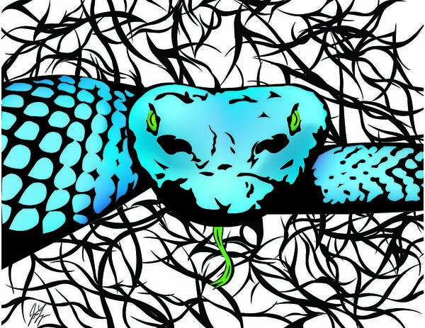 Wall Art - Digital Art - Slithering Blue by Jamie Lynn