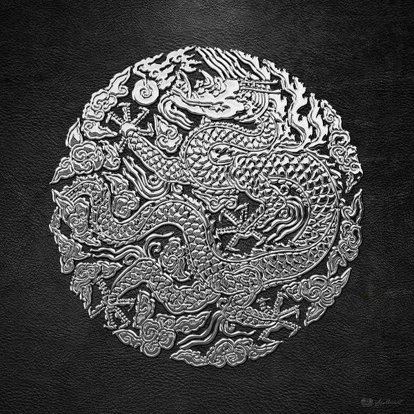 Digital Art - Sliver Chinese Dragon On Black Leather by Serge Averbukh