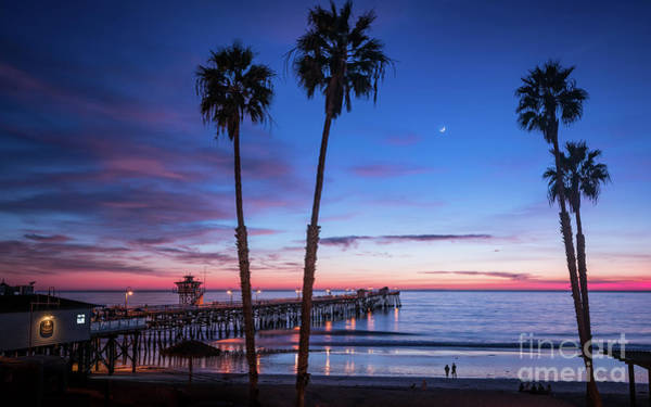 Photograph - Sliver Moon Over San Clemente Pier by David Levin