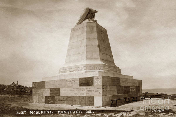 Photograph - Sloat Monument On The Presidio Of Monterey Circa 1910 by California Views Archives Mr Pat Hathaway Archives