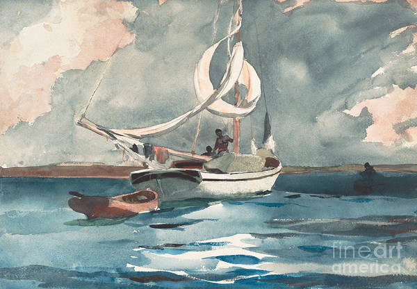 Set Sail Painting - Sloop, Nassau, 1899 by Winslow Homer