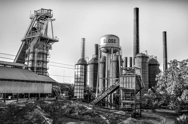 Photograph - Sloss Furnace Black White In Birmingham Alabama by Michael Thomas