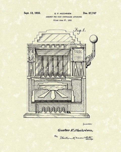 1932 Wall Art - Drawing - Slot Machine 1932 Patent Art by Prior Art Design