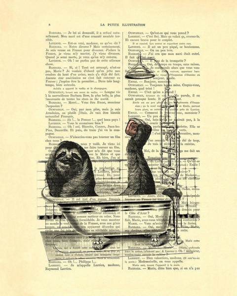 Child Digital Art - Sloth, Funny Children's Art, Bathroom Decor by Madame Memento