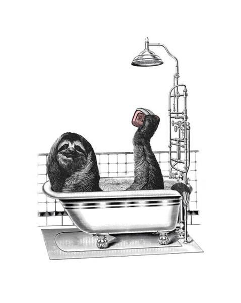Wildlife Digital Art - Sloth In Bathtub Taking A Shower by Madame Memento