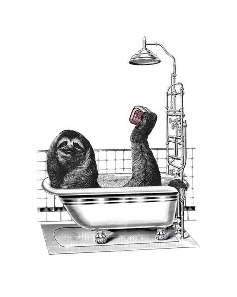 Baby Room Wall Art - Digital Art - Sloth In Bathtub Taking A Shower by Madame Memento