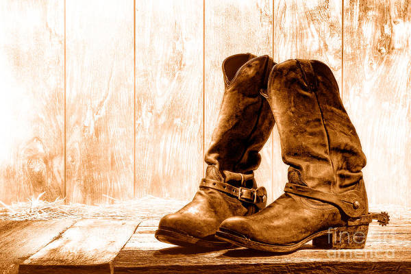 Wall Art - Photograph - Slouch Cowboy Boots - Sepia by Olivier Le Queinec