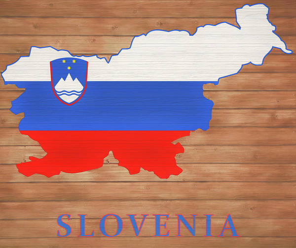 European Vacation Mixed Media - Slovenia Rustic Map On Wood by Dan Sproul