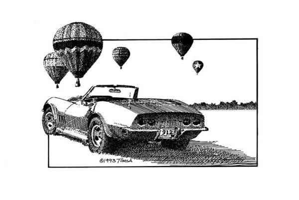 American Car Drawing - Slow And Go by Bill Tomsa