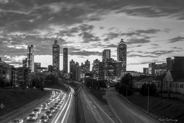 The Southern Company Photograph - Slow Go Home Atlanta Downtown Black And White Art by Reid Callaway