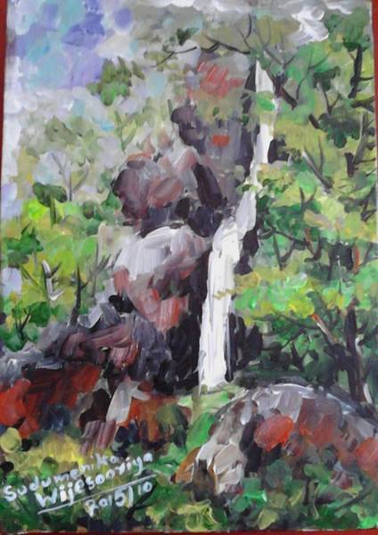 Wall Art - Painting - Slowing A Waterfall by Sudumenike Wijesooriya