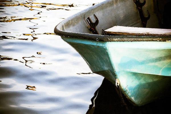 Dingy Digital Art - Small Blue Boat by Taya Johnston