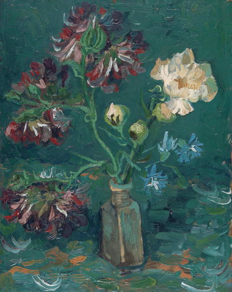 Seamless Painting - Small Bottle With Peonies And Blue Delphiniums, 1886 by Vincent Van Gogh